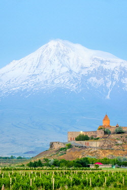 Khor Virap monastery and Mount Ararat at sunrise, near Lusarat, Ararat Province, Armenia.