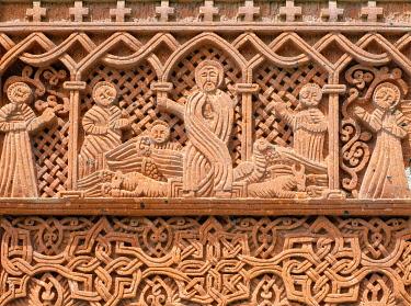 ARM0292AW Khachars at Geghard Monastery (Geghardavank), Kotayk Province, Armenia.