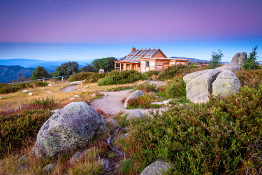 Craig's Hut created for the film 'Man from the Snowy River' sits high upon Mount Sterling. Mount Sterling, The High Country, Victoria, Australia