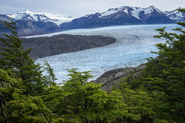 CHI11234AWRF Grey Glacier surrounded by mountains, Torres del Paine National Park, Magallanes Region, Chile