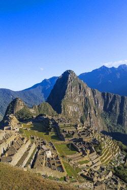 PER34406AWRF Historic ancient Incan Machu Picchu on mountain in Andes, Cuzco Region, Peru
