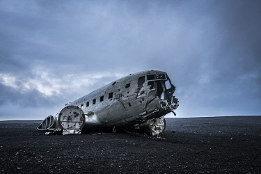 ICE4133AW Iconic US Navy DC-3 airplane wreckage at Solheimasandur beach, South Iceland, Iceland