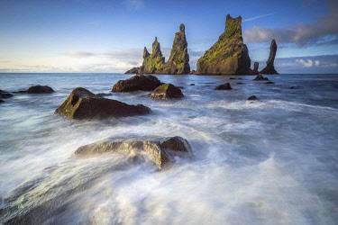 ICE4144AW Reynisdrangar rock formation in sea near Vik i Mydral, South Iceland, Iceland