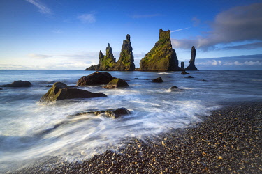 ICE4145AW Reynisdrangar rock formation in sea near Vik i Mydral, South Iceland, Iceland