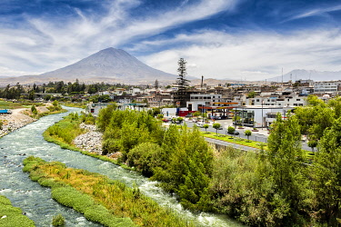 Volcano El Misti guarding the white city of Arequipa, Arequipa Region, Peru