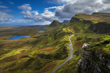SCO35527AW Mountain road on Quiraing, Isle of Skye, Highland Region, Scotland, United Kingdom