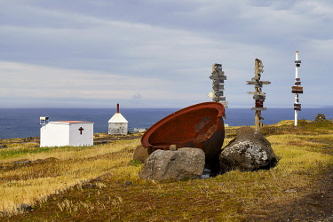 French Southern and Antarctic Lands, Crozet Islands, Ile de la Possession (Possession Island), the permanent station Alfred Faure, in front of the permanent station, the little chapel, an old cauldron...