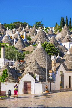 HMS3296542 Italy, Apulia, Itria Valley, Alberobello, UNESCO World Heritage Site for the trulli district, dwellings made of dry stones with a conical roof covered with limestone lauzes