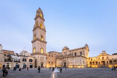 HMS3334197 Italy, Apulia, Salento region, Lecce, Santa Maria Assunta cathedral or Duomo and the Campanile