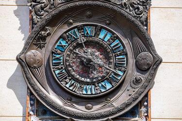 HMS3334298 Italy, Apulia, Salento region, Lecce, Piazza Sant'Oronzo, Clock of Wonders in bronze, created in 1955 by the sculptor Francesco Barbieri