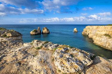 HMS3348521 Italy, Apulia, Salento region, Torre dell' Orso searesort, Two Sisters rocks (Le Due Sorelle)