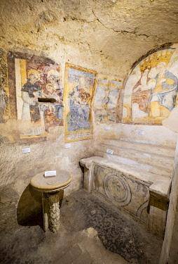 HMS3286234 Italy, Basilicata, Matera, European Capital of Culture in 2019, its troglodyte habitats or Sassi di Matera and its rock churches are listed as World Heritage by UNESCO, Sasso Barisano, rupestrian chur...
