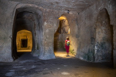 HMS3286238 Italy, Basilicata, Matera, European Capital of Culture in 2019, its troglodyte habitats or Sassi di Matera and its rock churches are listed as World Heritage by UNESCO, Sasso Barisano, the monastery o...