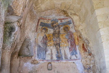 HMS3286317 Italy, Basilicata, Matera, European Capital of Culture in 2019, its troglodyte habitats or Sassi di Matera and its rock churches are listed as World Heritage by UNESCO, Sasso Barisano, the Rupestrian...