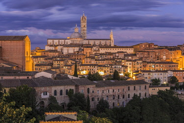 HMS3324485 Italy, Tuscany, Siena, listed as World Heritage by UNESCO, view of the Our Lady of the Assumption cathedral, the Duomo and the Basilica di San Domenico on left