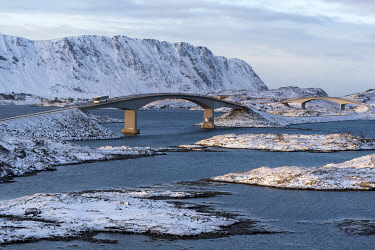 HMS3380768 Norway, Nordland County, Lofoten Islands, Fredvang, bridge