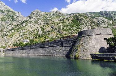 HMS3484627 Montenegro, town of Kotor on Kotor Bay, Saint-Jean fortress at World Heritage of Unesco