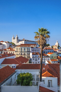 HMS3358606 Portugal, Lisbon, view over the rooftops of the Alfama district from the terrace of Largo das Portas do Sol, Sao Vicente de Fora monastery and Pantheon cupola