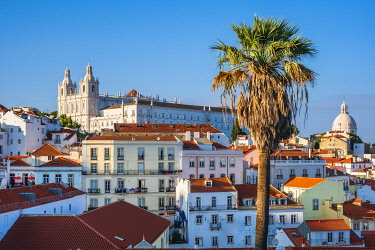 HMS3358611 Portugal, Lisbon, view over the rooftops of the Alfama district from the terrace of Largo das Portas do Sol, Sao Vicente de Fora monastery and Pantheon cupola