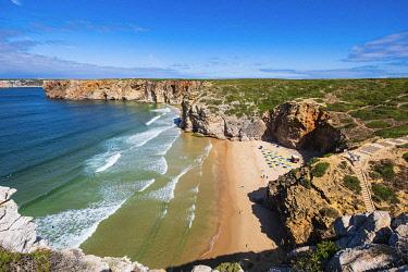 HMS3373657 Portugal, Algarve region, Southwest Alentejano and Costa Vicentina Natural Park, along the coastal hike path between Sagres and Saint Vincent Cape, Beliche beach