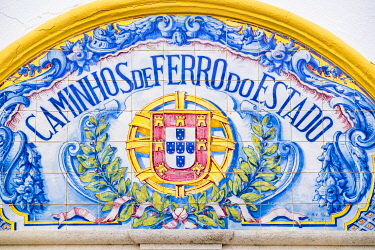 HMS3374185 Portugal, Alentejo region, Santiago do Cacem on the hiking trail Rota Vicentina (historical Way GR 11), former train station covered with azulejos