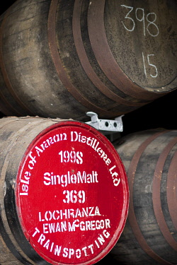 HMS3282626 United Kingdom, Scotland, North Ayrshire, Arran island, Lochranza, barrel in Arran distillery