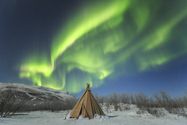 HMS3289349 Sweden, Lapland, region listed as World Heritage by UNESCO, Norrbotten County, Aurora Borealis on a teepee in Lapland in Abisko National Park