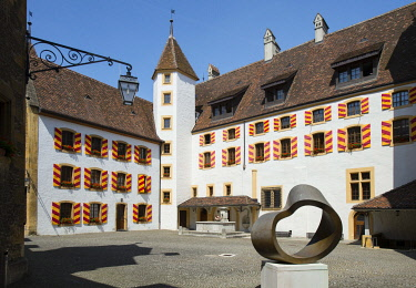 HMS3430054 Switzerland, Canton of Neuchatel, city of Neuchatel, the inner courtyard of the castle which houses the council of state
