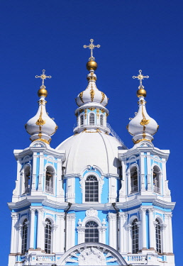 RUS2086AWRF Smolny Cathedral (Sobor) by Francesco Bartolomeo Rastrelli, built between 1748 & 1764, Saint Petersburg, Russia