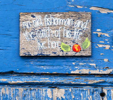 ENG16238AW A fishing shed name plaque, The Holy Island of Lindisfarne, Northumberland, England