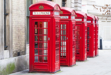 ENG16268AW The traditional British red telephone boxes, Covent Garden, London, England