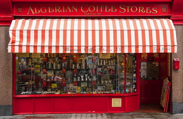 "ENG16269AW Algerian Coffee Stores â�"" a century-old shop for global coffees and teas in Soho, London, England"