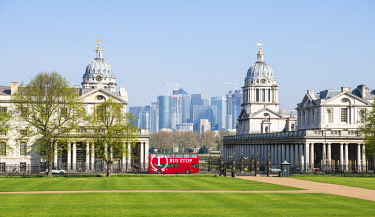 ENG16272AW A view towards National Maritime Museum and Canary Wharf, Greenwich, London, England