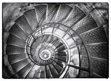 FRA11585AW A spiral staircase inside Arc de Triomphe, Paris, France
