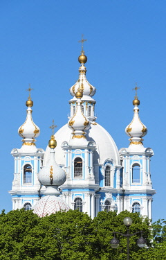 RUS2059AW Smolny Cathedral (Sobor) by Francesco Bartolomeo Rastrelli, built between 1748 & 1764, Saint Petersburg, Russia