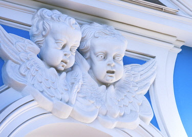 """RUS2061AW Angels on the façade of the Smolny Cathedral (Sobor) by Francesco Bartolomeo Rastrelli, built between 1748 â�"""" 1764, Saint Petersburg, Russia"""
