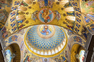 "RUS2071AW Ceiling of the Naval Cathedral of Saint Nicholas (Morskoy Nikolskiy Sobor) - Russian Orthodox cathedral built in 1903â�""1913 as the main church of the Russian Navy, and dedicated to all fallen seamen..."