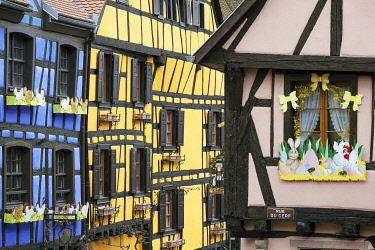 HMS3289243 France, Haut Rhin, Riquewihr, labelled Les Plus Beaux Villages de France (The Most beautiful Villages of France), rue de Gaulle, timbered houses, Easter decorations