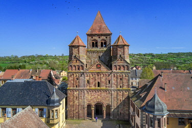 HMS3373048 France, Bas Rhin, Marmoutier, Roman abbey church dated 6th century, western Facade in red sandstone from Vosges Mountains (aerial view)