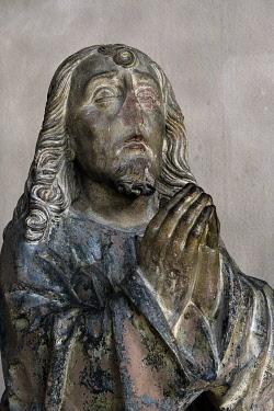 HMS3402095 France, Haut Rhin, Altkirch, Notre Dame church dated 19th century, polychrome statue, Christ on the Mount of Olives