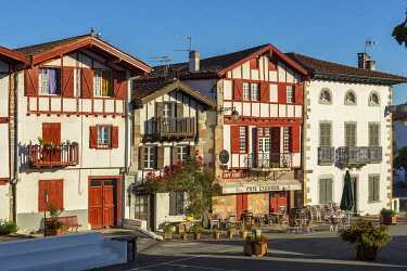 HMS3324829 France, Pyrenees Atlantiques, Bask country, Ainhoa, Labeled The Most Beautiful Villages of France, traditional half-timbered house