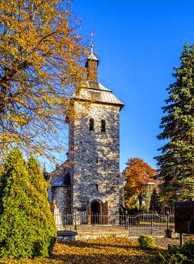 POL2128AW Church in Skarzyce, Krakow-Czestochowa Upland or Polish Jurassic Highland, Silesian Voivodeship, Poland