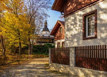POL2182AW Church by the Salomea Hermitage, Grodzisko, Ojcow National Park, Krakow-Czestochowa Upland or Polish Jurassic Highland, Lesser Poland Voivodeship, Poland