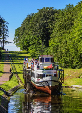 POL2238AW Tourist Boat in Cradle at Inclined Plane in Buczyniec, Elblag Canal, Warmian-Masurian Voivodeship, Poland