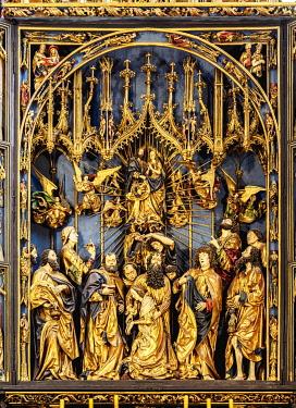 POL2252AW Veit Stoss Altarpiece, detailed view, Basilica of Saint Mary interior, Cracow, Lesser Poland Voivodeship, Poland