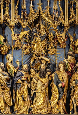 POL2256AW Veit Stoss Altarpiece, detailed view, Basilica of Saint Mary interior, Cracow, Lesser Poland Voivodeship, Poland
