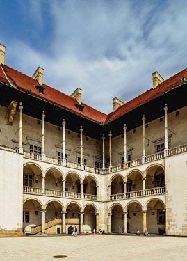 POL2265AW Sigismund I Stary's Renaissance Courtyard, Wawel Castle, Cracow, Lesser Poland Voivodeship, Poland
