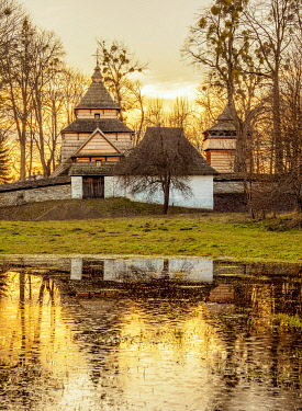 POL2412AW St. Paraskevi Church at sunset, UNESCO World Heritage Site, Radroz, Subcarpathian Voivodeship, Poland