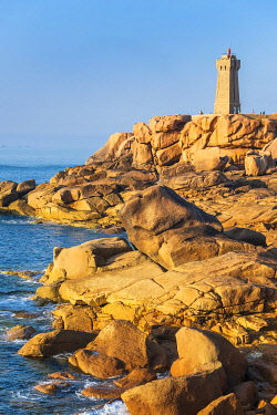 France, Cotes d'Armor, Pink Granite Coast, Perros-Guirec, on the Customs footpath or GR 34 hiking trail, Ploumanac'h or Mean Ruz lighthouse