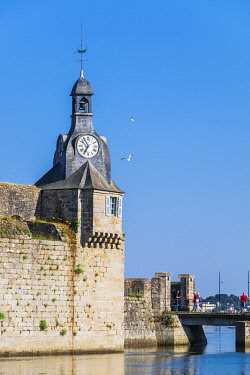 HMS3348587 France, Finistere, Concarneau, Walled Town is a fortified town built in the 15th and 16th century modified by Vauban in the 17th century, the belfry